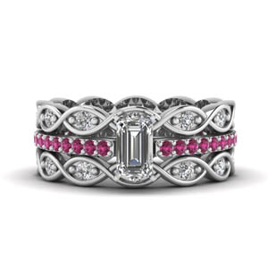Infinity Band Diamond Ring Set