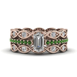 emerald cut pave infinity diamond trio wedding ring sets for women with emerald in 14K rose gold FD8047TEMGEMGRANGLE1 NL RG