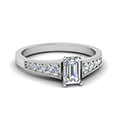 emerald cut milgrain side stone diamond engagaement ring in FD8048EMR NL WG