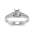emerald cut milgrain side stone diamond engagaement ring in FD8048EMRANGLE5 NL WG