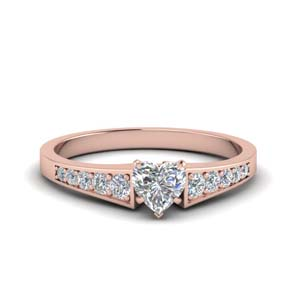 Heart Graduated Rose Gold Diamond Ring