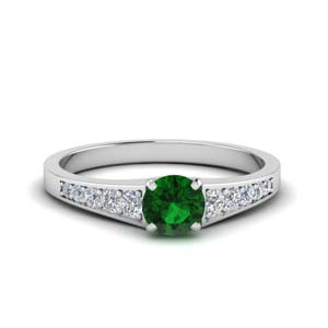 Platinum Emerald Pave Wedding Ring