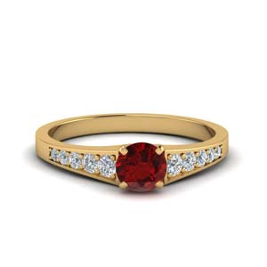 Accent Ruby Colored Wedding Ring