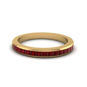 Channel Set Ruby Wedding Band