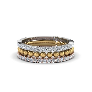 Trio Gold Stacked Diamond Ring With Bead