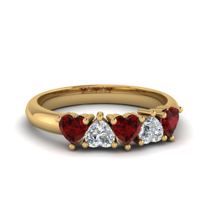Heart Shaped Ruby Wedding Band