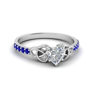 petite celtic heart shaped engagement ring with sapphire in FD8061HTRGSABL NL WG