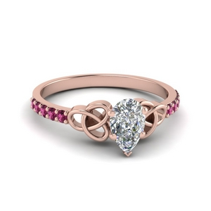 Pink Sapphire Celtic Style Engagement Ring