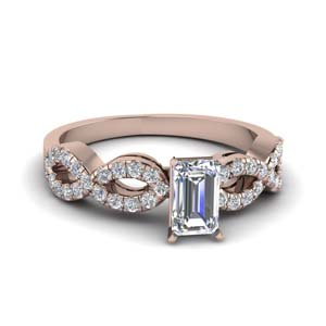 emerald cut braided diamond engagement ring in 18K rose gold FD8062EMR NL RG