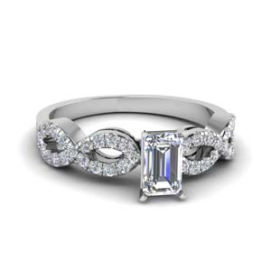 emerald cut braided diamond engagement ring in 14K white gold FD8062EMR NL WG