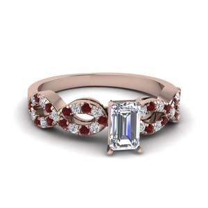 emerald cut braided diamond engagement ring with ruby in 18K rose gold FD8062EMRGRUDR NL RG