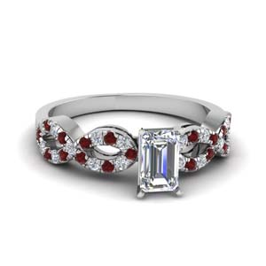 emerald cut braided diamond engagement ring with ruby in 14K white gold FD8062EMRGRUDR NL WG
