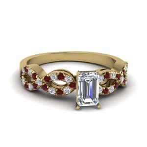 emerald cut braided diamond engagement ring with ruby in 18K yellow gold FD8062EMRGRUDR NL YG