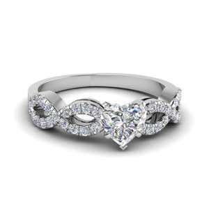heart shaped braided diamond engagement ring in 14K white gold FD8062HTR NL WG