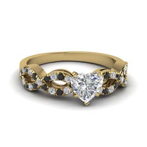 heart shaped braided engagement ring with black diamond in 14K yellow gold FD8062HTRGBLACK NL YG