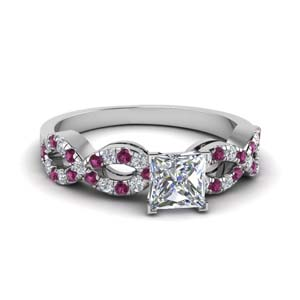 princess cut braided diamond engagement ring with pink sapphire in 14K white gold FD8062PRRGSADRPI NL WG
