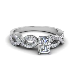 radiant cut braided diamond engagement ring in 14K white gold FD8062RAR NL WG