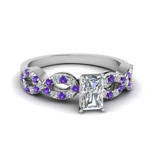 radiant cut braided diamond engagement ring with violet topaz in 14K white gold FD8062RARGVITO NL WG