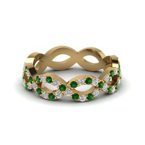 Diamond Eternity Band With Emerald