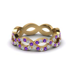 infinity diamond eternity band for women with purple topaz in 14K yellow gold FD8063BGVITO NL YG