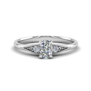 Three Stone Milgrain Moissanite Ring