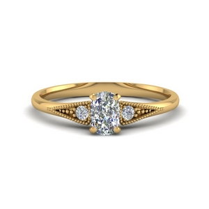 3 Stone Milgrain Lab Diamond Ring