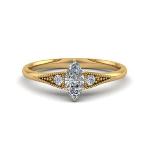 marquise cut small 3 stone diamond milgrain engagement ring in FD8073MQR NL YG