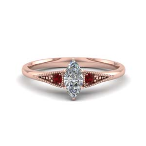Rose Gold Ruby Milgrain Ring