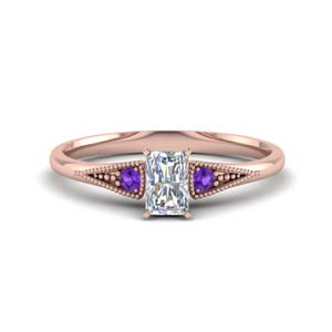 Radiant Cut Purple Topaz Ring
