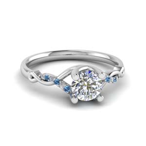 u prong twisted diamond engagement ring with blue topaz in 14K white gold FD8077RORGICBLTO NL WG