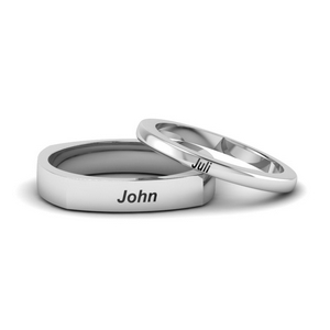 14K White Gold His And Her Wedding Bands