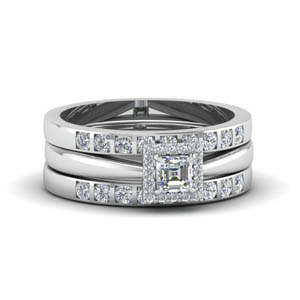 asscher cut square halo diamond trio wedding ring sets for women in 950 Platinum FD8087TAS NL WG