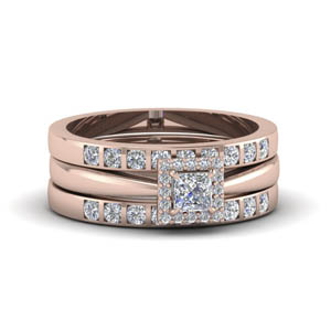 princess cut square halo diamond trio wedding ring sets for women in 18K rose gold FD8087TPR NL RG