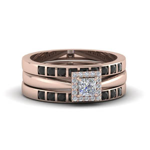 princess cut square halo trio wedding ring sets for women with black diamond in 14K rose gold FD8087TPRGBLACK NL RG