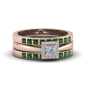 princess cut square halo diamond trio wedding ring sets for women with emerald in 14K rose gold FD8087TPRGEMGR NL RG