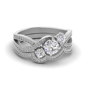 Milgrain Diamond Swirl Bridal Set