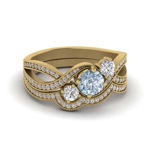 Milgrain 3 Stone Wedding Set