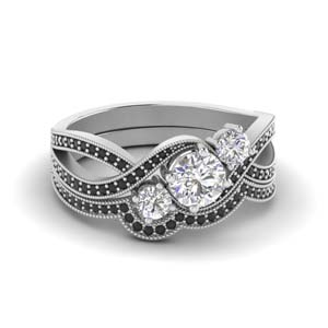 Swirl Milgrain Wedding Ring Set