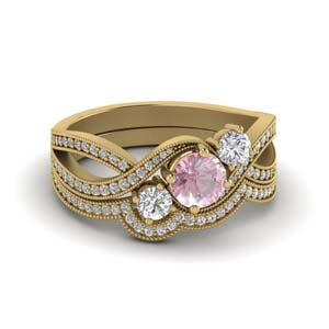 Morganite Wedding Gold Set