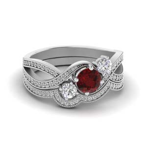 Ruby Milgrain Wedding Set