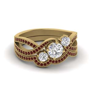 Gold Ruby 3 Stone Ring