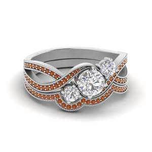 Pave 3 Stone Swirl Wedding Set