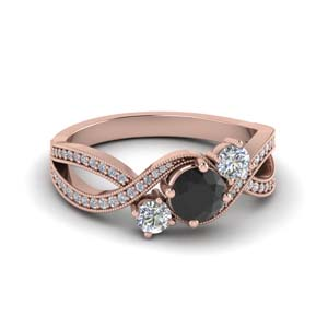 Milgrain Black Diamond Twisted Ring