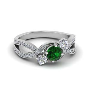 Platinum Emerald 3 Stone Ring