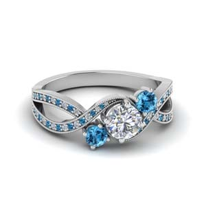 milgrain three stone pave diamond engagement ring with blue topaz in FD8101RORGICBLTO NL WG