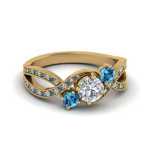 milgrain three stone pave diamond engagement ring with blue topaz in FD8101RORGICBLTO NL YG