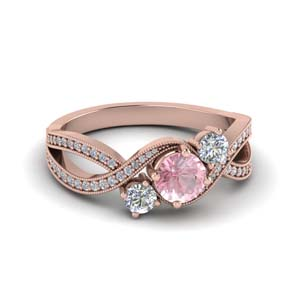 Three Stone Morganite Pave Set Ring