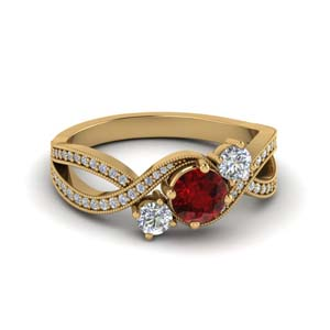 Pave Set Ruby Three Stone Ring