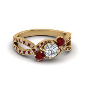 milgrain three stone pave diamond engagement ring with ruby in FD8101RORGRUDR NL YG