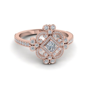 Vintage Look Halo Diamond Ring